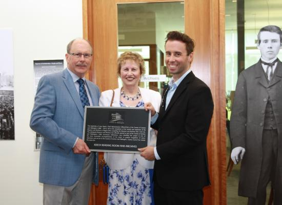 Larry, Catherine and Ryan Keech at the newly named Keech Reading Room and Archives